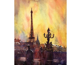 Eiffel Tower at sunset in Paris, France.  Eiffel Tower watercolor painting.  Paris painting art.  Paris watercolor painting Eiffel Tower