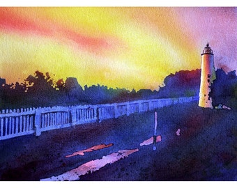 Ocracoke Island lighthouse in Outer Banks of North Carolina- USA.  Original watercolor.  Print watercolor lighthouse.  Landscape painting
