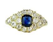 Vintage Sapphire & Diamond Cluster Ring, Circa 1910
