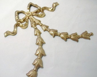 Brass ribbon and bow for your wall, Hollywood Regency, Mid century Modern