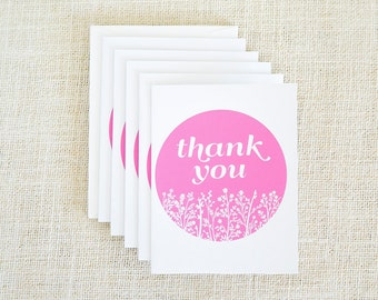 Floral Print, Thank You Cards, Wedding Thank You Cards, Thank You Notes, Wedding Card, Bridal Shower, Baby Shower Thank You Cards, Pink