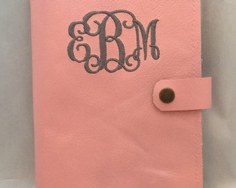 Pink leather journal. Personalized journal.