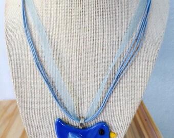 Blue bird fused glass pendant necklace