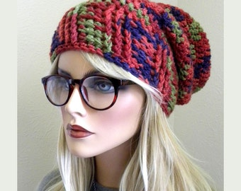 Wool Slouchy Beanie, Oversized Slouch Hat, Slouch Hat, Multicolored slouch Hat, Autumn Colors, Handmade hat, Crochet beanie, beanie,