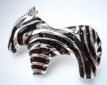 Vintage Signed Danecraft  Silver/Black Zebra Brooch/Pin