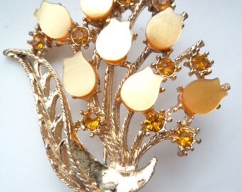 Vintage Unsigned Goldtone/Amber Rhinestone Tulips Brooch/Pin