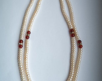 Vintage Cultured Pearl/Cornelian and Diamonte Necklace