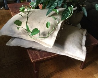 """Natural Burlap Pillow Shams With 1"""" Flange 26"""" x 26"""" Fully Lined And  Tie Closure, Natural Burlap Shams 26 """"x 26"""" With 1"""" Flange"""