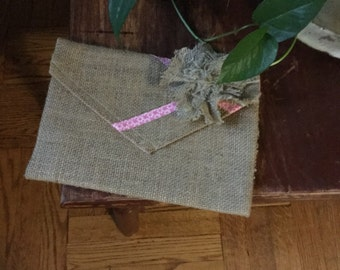 Natural burlap clutch purse, burlap cottage chic clutch purse, jute clutch purse, rustic burlap clutch purse