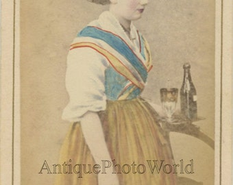 Switzerland young girl bartender with wine antique hand tinted CDV photo