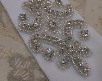 Beautiful white bridal BELT with silver rhinestone wedding appliqué