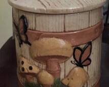 vintage 70's Gare Mushroom-Butterfly-Barrel Cookie Jar/ Canister-Vintage Kitchen-70's Kitchen-Vintage Home