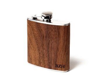 Flask craft distillery distiller Personalized whiskey flask Real Wood flask for man men