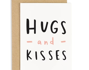 Hugs and Kisses Card - Love card - Sympathy card - Thinking of you cards - CC63