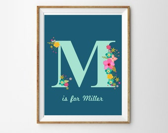 Floral Monogram Print in Blues - Personalized Monogram - Nursery Art - Kitchen Art - Editable Instant Download and Edit with Adobe Reader