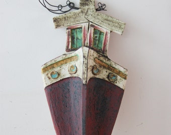 Rustic ship bow, ceramic ship bow with wire steam and captains cabin, colourful ceramic ship, Greek folk art, Greek ship wall hanging