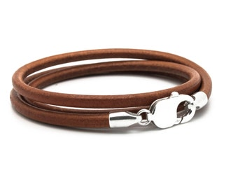 Bracelet leather for men. light brown -  925 sterling silver Claps