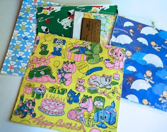 Collection of Vintage Gift Wrap, Children Themed