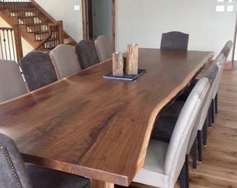 live edge dining room table. Black Walnut Live Edge Table Dining Room Kitchen edge table  Etsy