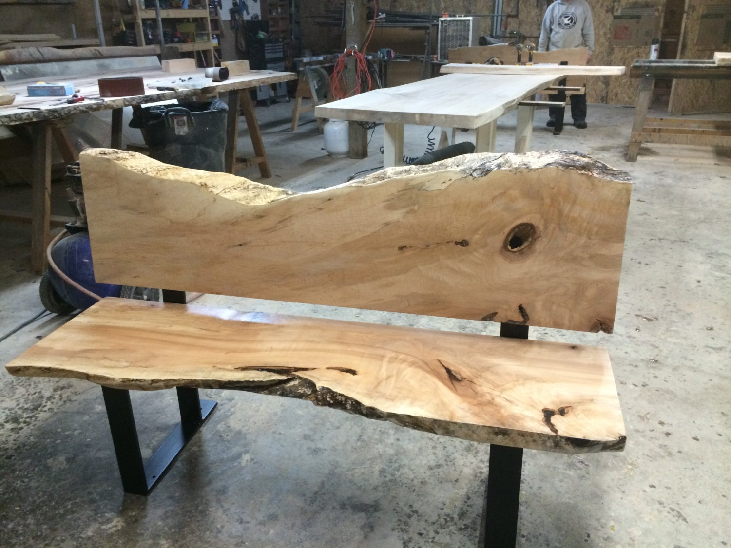 Live edge bench wood slab bench reclaimed wood seating for Live edge slab lumber