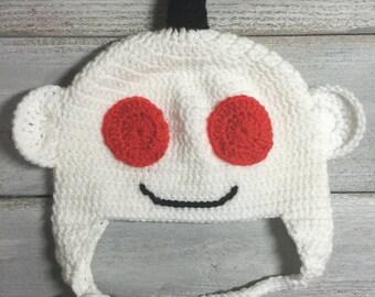 Reddit Alien Hat Inspired, White Crochet Meme Beanie with Black Antenna