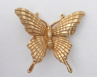 JOMAZ Textured Gold Tone Butterfly Figural Brooch