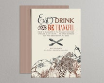 Printable Thanksgiving Invitations with Vintage Vegetables