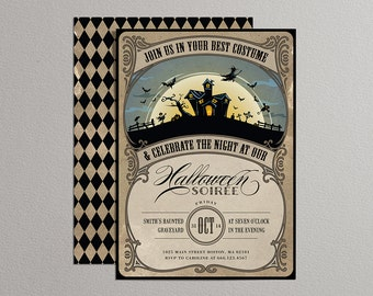 Printable Halloween Invitation in vintage colors - DIY party invitation