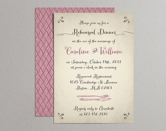 Printable Wedding Rehearsal Dinner Invitation - Rustic Background with Custom Colors