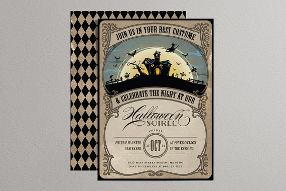 Printable Vintage Halloween Invitation