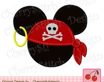 Pirate,Mouse Ears, Mickey Mouse,Mickey Embroidery Design -for 4x4 5x5 6x6 inch-Machine Embroidery Applique Design