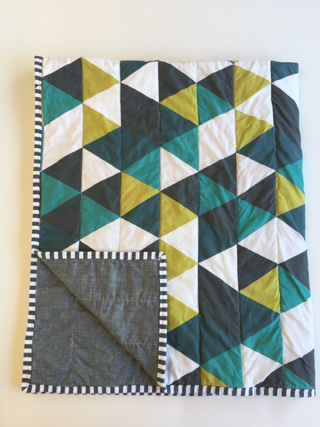 Emerald Teal Navy Modern Baby Quilt Gray Black White Mustard