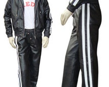 Real Leather Track Suit  with Hood in Black with 2 White Stripes with  Lace at the Bottom in White  ( Made to Order)  MTS002