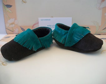 Green Brown Suede Baby Moccasins Moccasin Shoes Handmade Boho Mocs