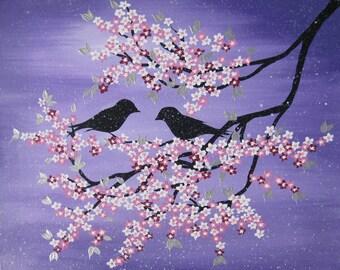 "Japanese art , cherry blossom, paintings,Australia , small Japanese painting , tree, 2 birds,  birds, love, romantic, canvas, 20"" x 16"""