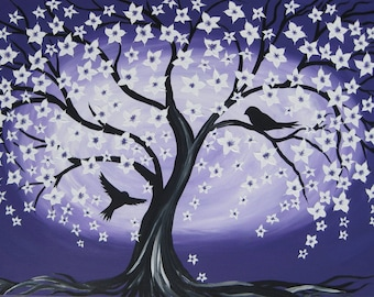 """painting of a tree of life with birds, paintings of the tree of life, purple art with cherry blossom, purple, tree, bird, birds, 28"""" x 20"""""""