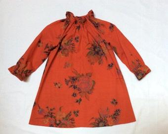 Handmade red floral dress, vintage fabric