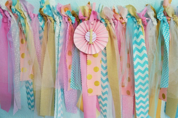 Birthday Party Banner, lst birthday, pinks, golds,teal, whites 48 inches wide, # 1, high chair banner, photo prop banner.