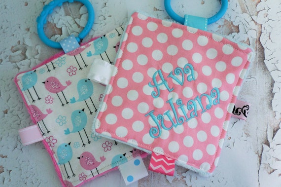 Baby girl busy active crinkle toys, set of 2, easy care , washable, pink and blue, moms on the go,  can be personalized.