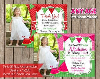 Any Age Red OR Pink and Green Watermelon Invitation OR Thank you Card Note - Photo Birthday Invitations- Digital File- DIY