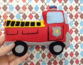 Fire Truck Rattle, Baby Rattle, Kid Safe Toy, Washable Toy, Baby Shower Gift