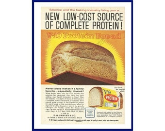 "V-10 PROTEIN BREAD Original 1964 Vintage Color Print Ad - Golden Loaf on Bread Peel {Paddle} ""New Low-Cost Source Of Complete Protein!"""