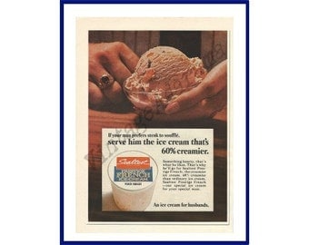 SEALTEST Prestige French Ice Cream Original 1967 Vintage Color Print Ad - Glass Bowl of a Scoop of Peach Nugget