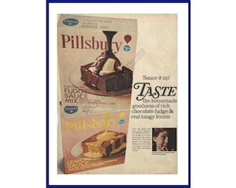 "PILLSBURY SAUCE MIX Original 1967 Vintage Color Print Ad - Chocolate Fudge and Lemon Sauce Mix Boxes ""Sauce it up!"""