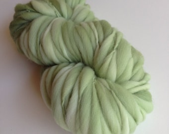 Handspun Thick and Thin Merino Yarn - 50 yds - Light Sage