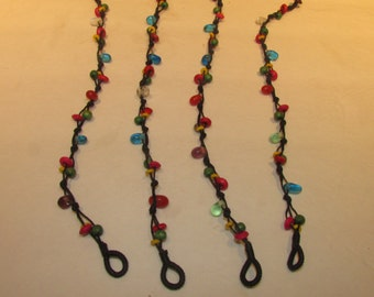 Beaded Aklet multi colored wood and plastic beads Hippie Boho