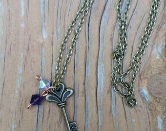 Antiqued Copper and Crystal Necklace with Key Charm