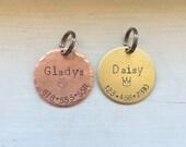 Pet ID tags, copper tag, brass tag, metal stamped round, pet accessories, dog tag, keyring, key tag