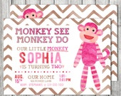 Monkey SEE Monkey DO Birthday Invite - Double Sided Card - 5x7 JPG (Front and Back Design)