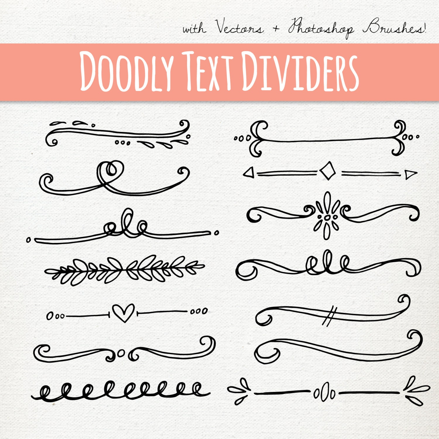 Simple One Line Text Art : Clip art doodly text divider abr photoshop brushes hand